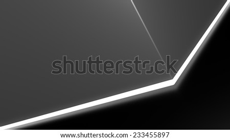 geometry forms on the reflective floor with white light glow at the bottom