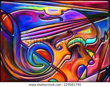 Geometry of Music series. Composition of colorful stained glass pattern on the subject of music, creativity and art - stock photo