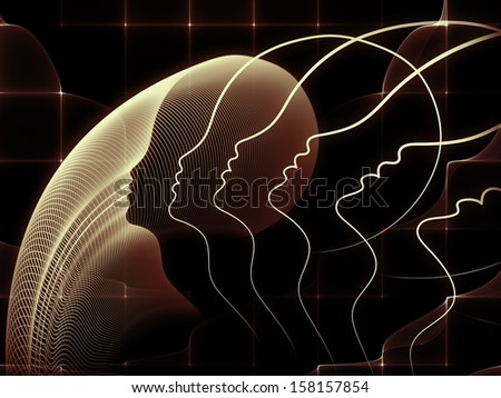 Geometry of Soul series. Artistic background made of profile lines of human head for use with projects on education, science, technology and graphic design