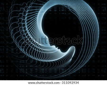 Geometry of Soul series. Backdrop of profile lines of human head on the subject of education, science, technology and graphic design - stock photo