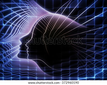 Geometry of Soul series. Design made of profile lines of human head to serve as backdrop for projects related to education, science, technology and graphic design - stock photo