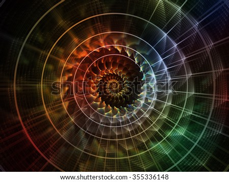 Geometry of Space series. Backdrop of conceptual grids, curves and fractal elements on the subject of physics, mathematics, technology, science and education - stock photo