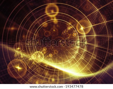Geometry of Space series. Creative arrangement of conceptual grids, curves and fractal elements as a concept metaphor on subject of physics, mathematics, technology, science and education - stock photo