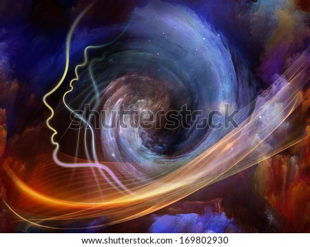 Geometry of the Soul series two. Abstract design made of human profile and abstract elements on the subject of spirituality, science, creativity and human mind - stock photo