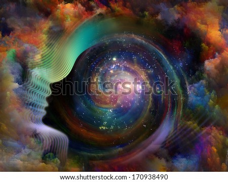 Geometry of the Soul series two. Background design of human profile and abstract elements on the subject of spirituality, science, creativity and the mind - stock photo