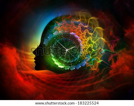 Geometry of the Soul series two. Interplay of human profile and abstract elements on the subject of spirituality, science, creativity and human mind - stock photo