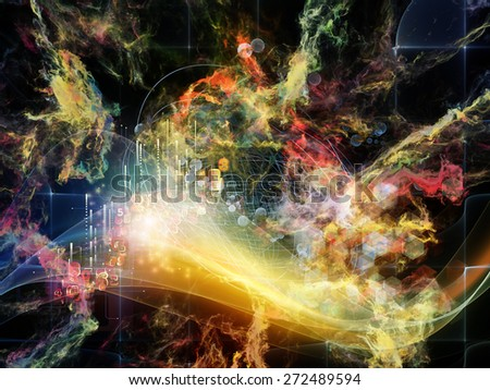 Geometry of Virtual Space series. Arrangement of abstract shapes, colors and elements on the subject of virtual reality, technology, science and design - stock photo