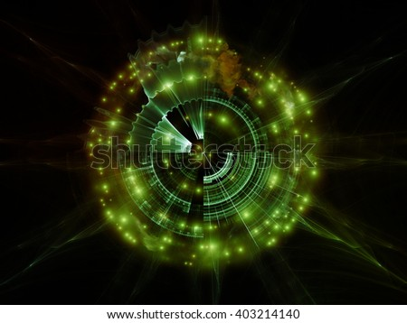 Geometry of Virtual Space series. Backdrop design of abstract shapes, colors and elements to provide supporting composition for works on virtual reality, technology, science and design - stock photo