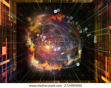 Geometry of Virtual Space series. Backdrop of abstract shapes, colors and elements on the subject of virtual reality, technology, science and design - stock photo