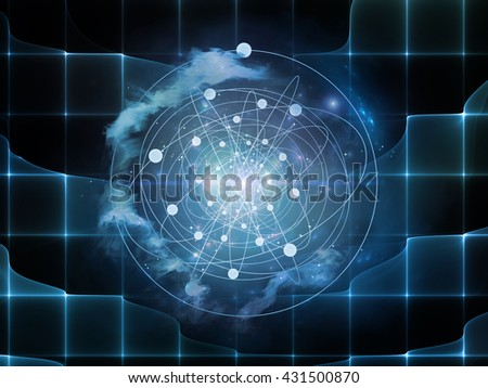 Geometry of Virtual Space series. Background design of abstract shapes, colors and elements on the subject of virtual reality, technology, science and design