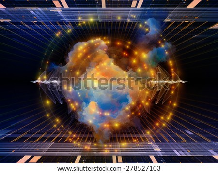 Geometry of Virtual Space series. Visually attractive backdrop made of abstract shapes, colors and elements suitable as element for layouts on virtual reality, technology, science and design