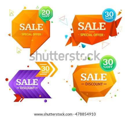 Geometry Origami and Speech Bubble Sale Label Set. illustration
