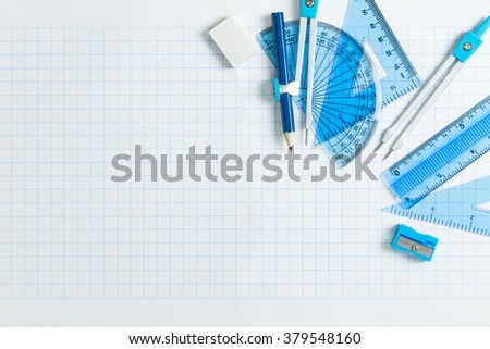 Geometry set with compass, ruler and protractor - stock photo