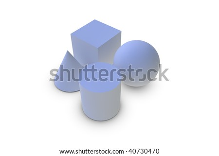 Geometry shapes on white background