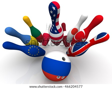 Geopolitics as a bowling game. Bowling Ball in colors of the flag of the Russian Federation breaks the skittles with a picture of the flags of other countries. Isolated. 3D Illustration