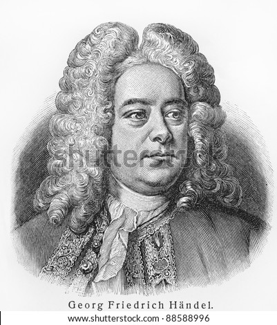 Georg Friedrich Handel -  Picture from Meyers Lexicon books written in German language. Collection of 21 volumes published between 1905 and 1909. - stock photo