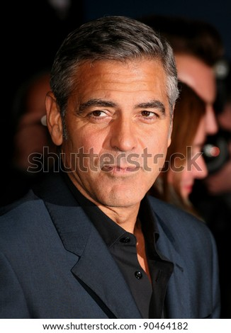 George Clooney arriving for The Ides Of March Premiere, Odeon Leicester Square, London. 19/10/2011 Picture by: Alexandra Glen / Featureflash - stock photo