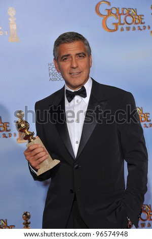 George Clooney at the 69th Golden Globe Awards at the Beverly Hilton Hotel. January 15, 2012  Beverly Hills, CA Picture: Paul Smith / Featureflash - stock photo