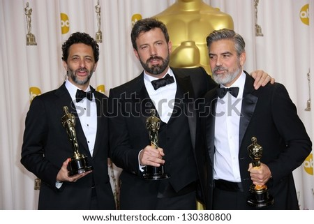 George Clooney, Grant Heslov, Ben Affleck at the 85th Annual Academy Awards Press Room, Dolby Theater, Hollywood, CA 02-24-13