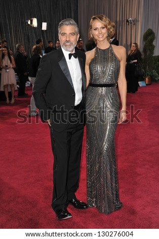 George Clooney & Stacy Keibler at the 85th Academy Awards at the Dolby Theatre, Hollywood. February 24, 2013  Los Angeles, CA Picture: Paul Smith