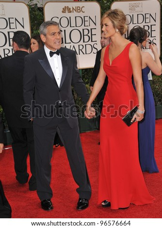 George Clooney & Stacy Kiebler at the 69th Golden Globe Awards at the Beverly Hilton Hotel. January 15, 2012  Beverly Hills, CA Picture: Paul Smith / Featureflash