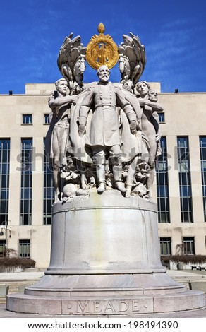 George Gordon Meade of Gettysburg Memorial Civil War Statue Pennsylvania Ave Washington DC Public Artwork given by the State of Pennsylvania.  Artist is Charles Grafly and Statue dedicated in 1927.   - stock photo