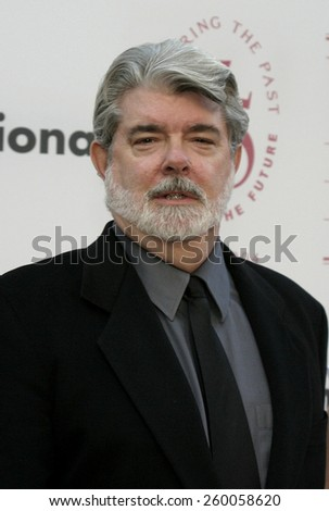George Lucas at the 75th Diamond Jubilee Celebration for the USC School of Cinema-Television held at the USC's Bovard Auditorium in Los Angeles, United States on September 26 2004. - stock photo
