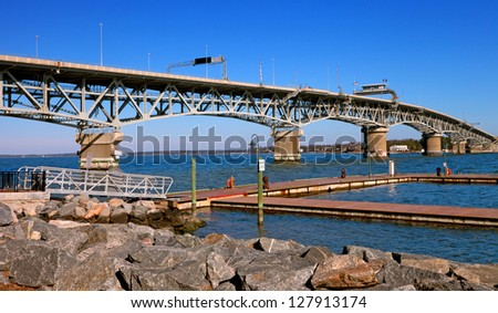 George P. Coleman Memorial Bridge, Yorktown, Virginia - stock photo