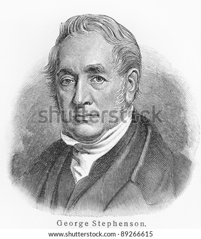 George Stephenson - Picture from Meyers Lexicon books written in German language. Collection of 21 volumes published  between 1905 and 1909.