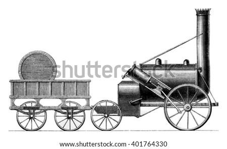 George Stephenson's Rocket, 1829, vintage engraved illustration. Magasin Pittoresque 1861.