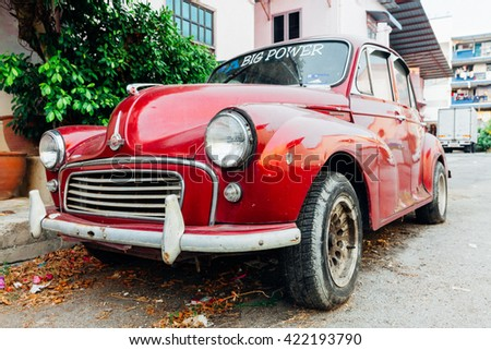 GEORGE TOWN, MALAYSIA - MARCH 24: Morris Minor 1000 parked on the street of George Town on March 24, 2016 in George Town, Malaysia.