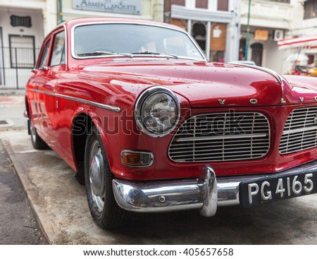 GEORGE TOWN, MALAYSIA - MARCH 22: Volvo Amazon parked on the street of George Town on March 22, 2016 in George Town, Malaysia.