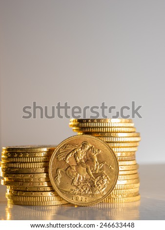 George V gold coins - Selective focus - stock photo