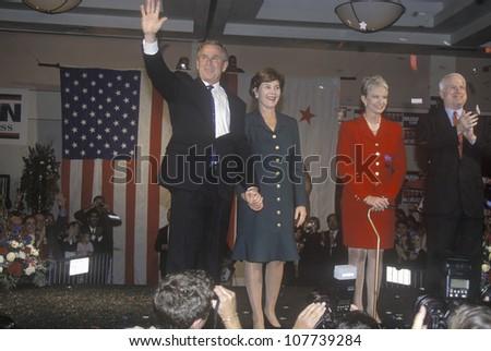 George W. Bush, Mrs. Bush, Senator and Mrs. John McCain at campaign rally, Burbank, CA in 2000 - stock photo