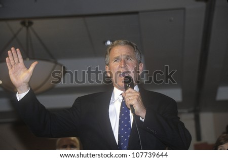 George W. Bush speaking at campaign rally, Burbank, CA in 2000 - stock photo