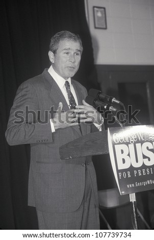 George W. Bush speaking at Londonderry High School, NH, January 2000 - stock photo