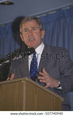 George W. Bush speaking at Rotary Club, Portsmouth, NH in 2000 - stock photo