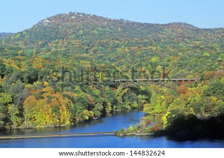 George W. Perkins Memorial Drive with Hudson River and Bear Mountain Bridge, NY - stock photo