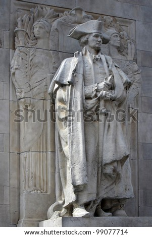 George Washington as commander in chief, statue on Washington Square Arch in New York City. - stock photo