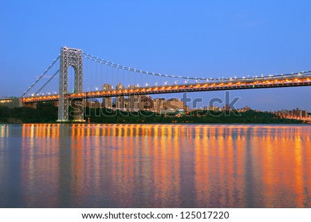 George Washington Bridge at dusk - stock photo