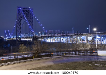 George Washington Bridge is a double-decked bridge that connects New York City and New Jersey. - stock photo