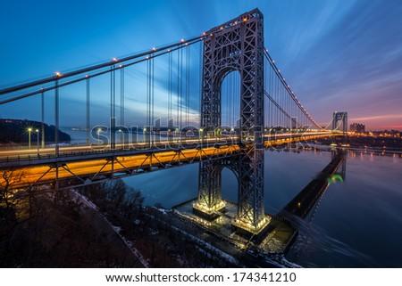 George Washington Bridge sunrise - stock photo