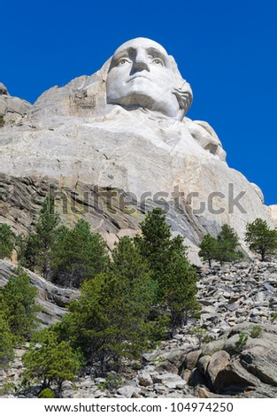 George Washington face on Mount Rushmore National Memorial - stock photo