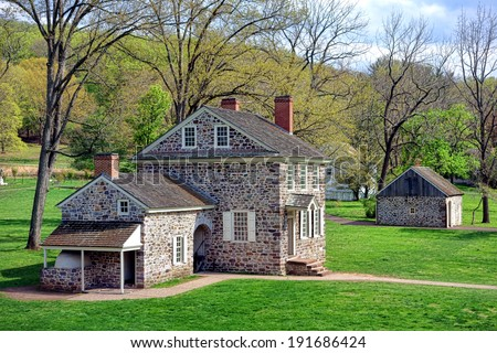 George Washington Headquarters of the American Revolutionary War Continental Army encampment in Isaac Potts field stone house at Valley Forge National Historical Park near Philadelphia in Pennsylvania - stock photo