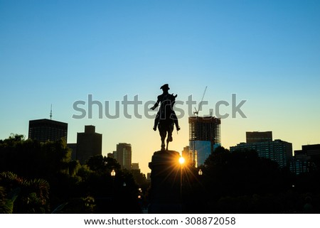 George Washington monument in Public Garden Boston Massachusetts USA at sunrise - stock photo