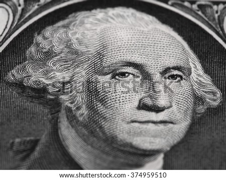 George Washington portrait on the us one dollar bill macro, united states money closeup