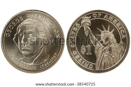 George Washington Presidential Dollar coin.  Both front and back, heads and tails, obverse and reverse. - stock photo
