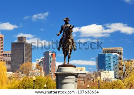 George Washington Statue at Boston Public Garden in Boston, Massachuetts. - stock photo