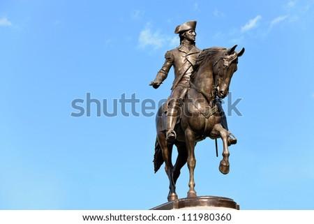 George Washington Statue in Boston Public Garden - Clipping path included - stock photo
