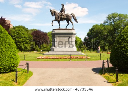 George Washington statue in the Boston Common Public Garden - stock photo